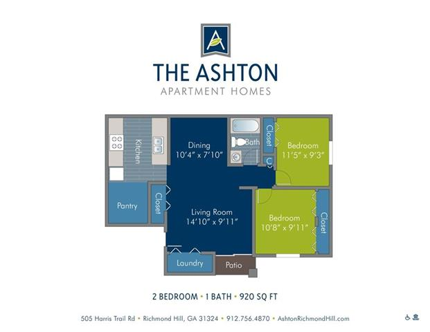2 Bedrooms 1 Bathroom Apartment for rent at Ashton at Richmond Hill in Richmond Hill, GA