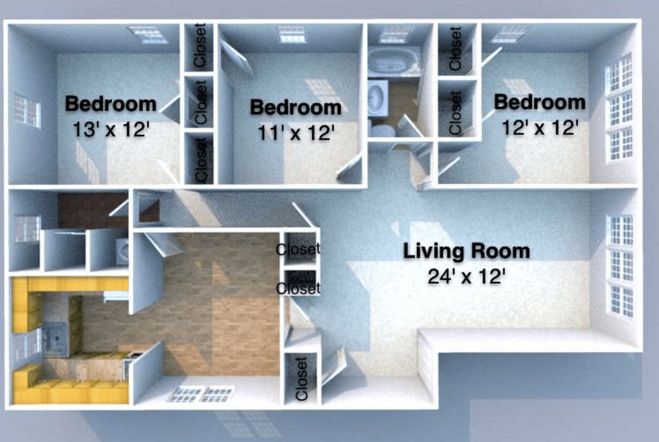 3 Bedrooms 2 Bathrooms Apartment for rent at Grant Flats in West Lafayette, IN
