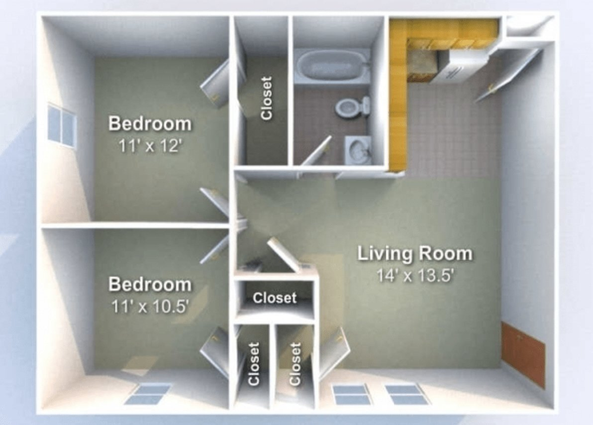 2 Bedrooms 1 Bathroom Apartment for rent at Harrison Commons in West Lafayette, IN