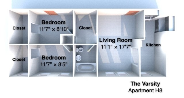 2 Bedrooms 1 Bathroom Apartment for rent at The Varsity in West Lafayette, IN