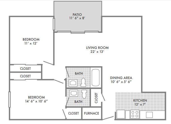 2 Bedrooms 2 Bathrooms Apartment for rent at Geneva Apartments in St Louis, MO