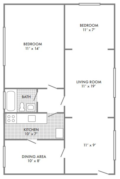 2 Bedrooms 1 Bathroom Apartment for rent at Oak Park Apartments in St Louis, MO