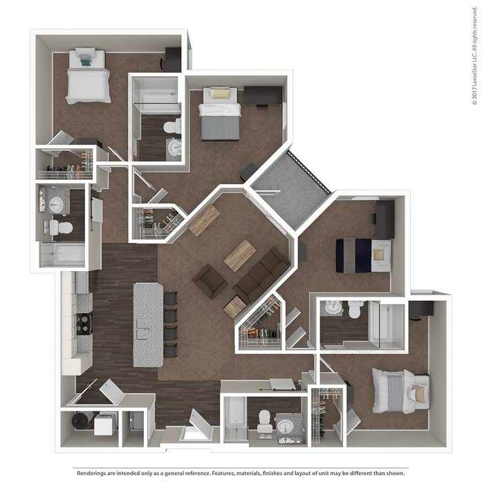 4 Bedrooms 4+ Bathrooms Apartment for rent at Highline At Nine in Columbus, OH