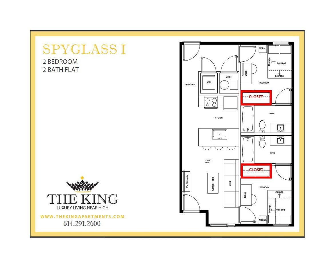 2 Bedrooms 2 Bathrooms Apartment for rent at The King in Columbus, OH