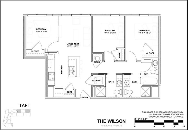 3 Bedrooms 3 Bathrooms Apartment for rent at Wilson Place in Columbus, OH