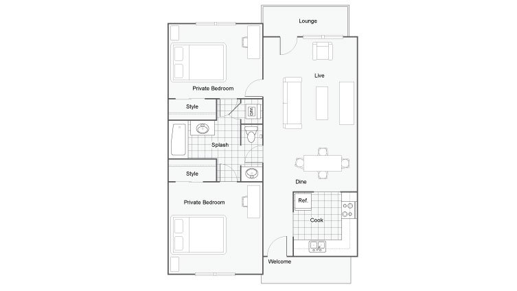2 Bedrooms 1 Bathroom Apartment for rent at The Social 2700 Student Spaces in Tallahassee, FL