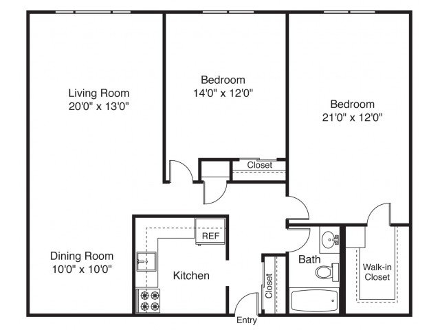 2 Bedrooms 1 Bathroom Apartment for rent at The Landings on the Trail in East Providence, RI