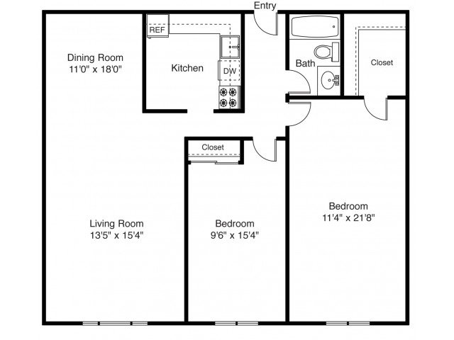 2 Bedrooms 1 Bathroom Apartment for rent at East Shore Apartment Homes in East Providence, RI