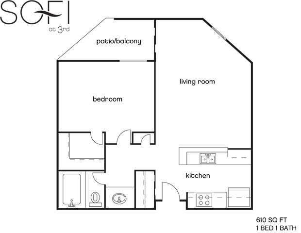 1 Bedroom 1 Bathroom Apartment for rent at Sofi at 3rd in Long Beach, CA