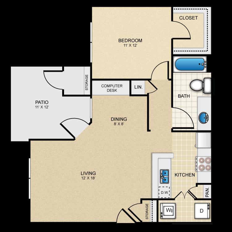 1 Bedroom 1 Bathroom Apartment for rent at The Redland in San Antonio, TX