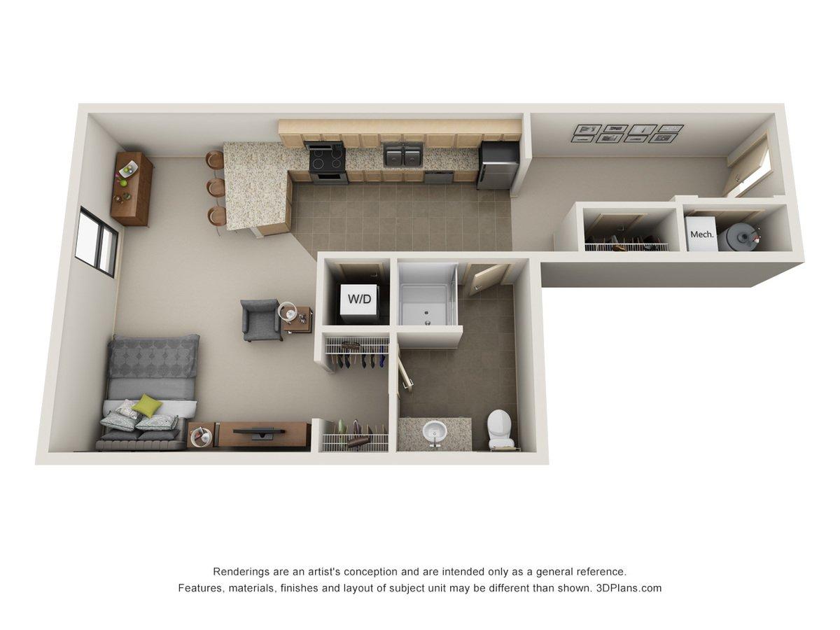Studio 1 Bathroom Apartment for rent at L14 Flats in Omaha, NE