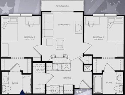 2 Bedrooms 2 Bathrooms Apartment for rent at Republic At Sam Houston in Huntsville, TX