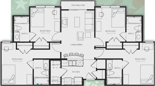 4 Bedrooms 4+ Bathrooms Apartment for rent at Republic At Sam Houston in Huntsville, TX