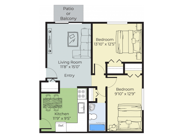 2 Bedrooms 1 Bathroom Apartment for rent at Pheasant Run Apartments in Nashua, NH