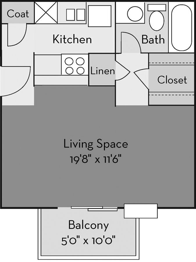 Studio 1 Bathroom Apartment for rent at The Creek Apartments in Wilmington, NC