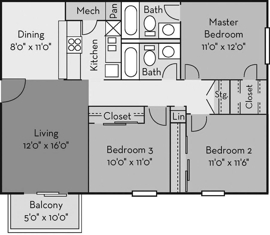 3 Bedrooms 2 Bathrooms Apartment for rent at The Creek Apartments in Wilmington, NC