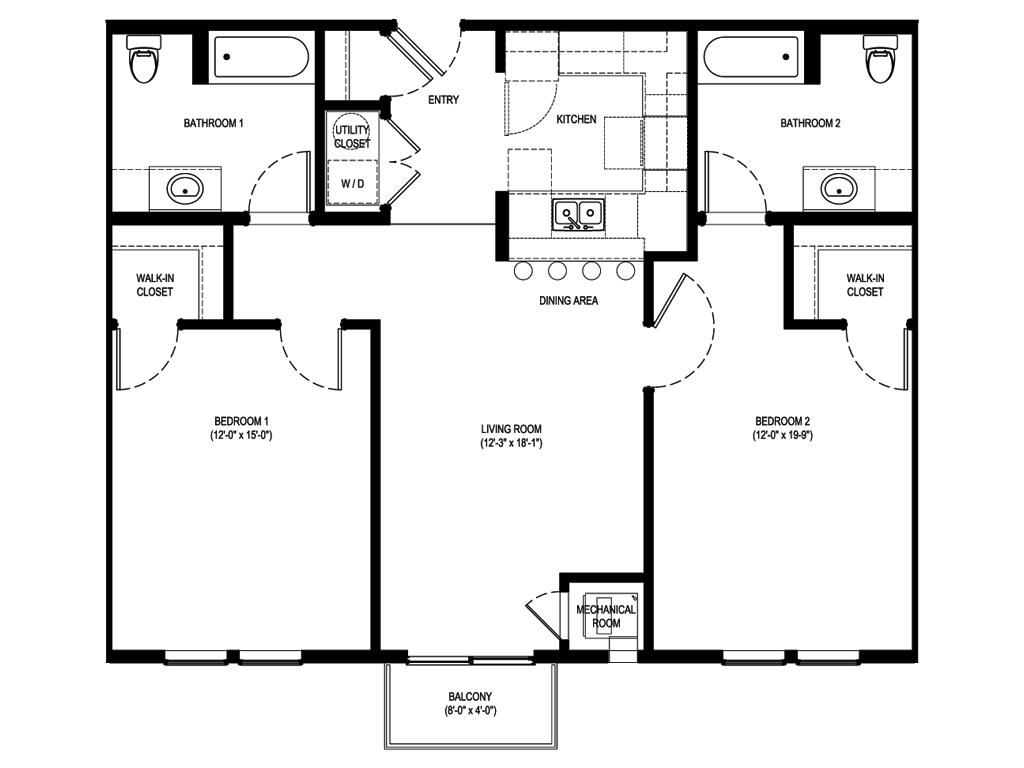 2 Bedrooms 2 Bathrooms Apartment for rent at Portal Place Apartments in Pittsburgh, PA