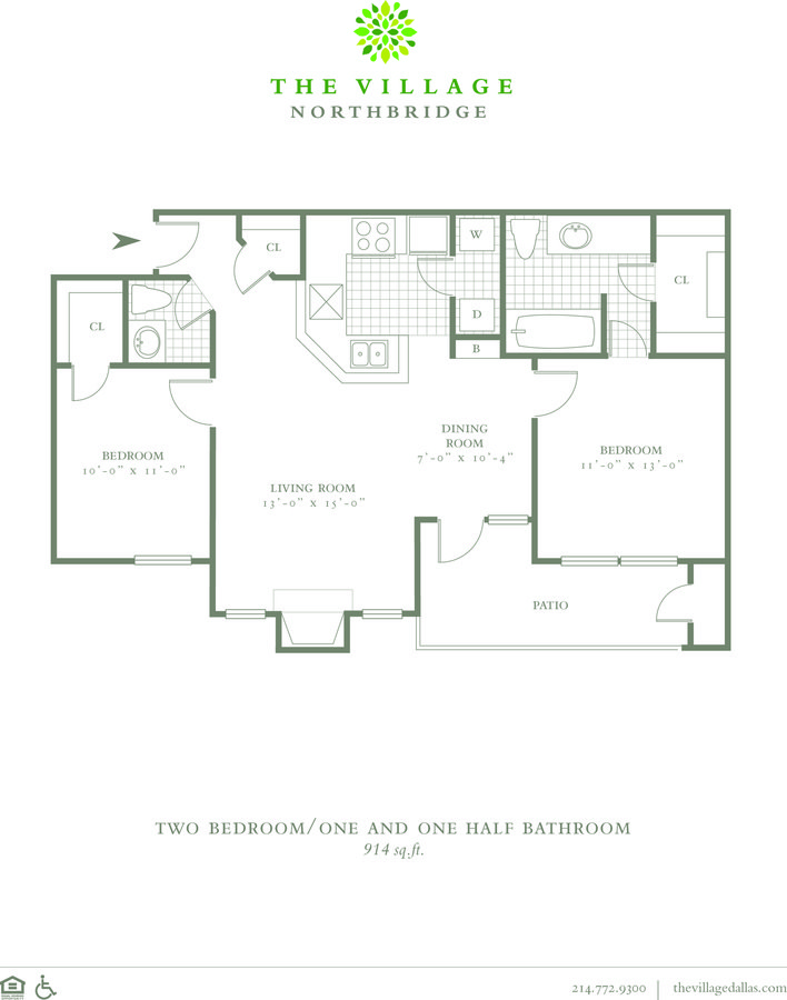 2 Bedrooms 1 Bathroom Apartment for rent at The Village Northbridge in Dallas, TX