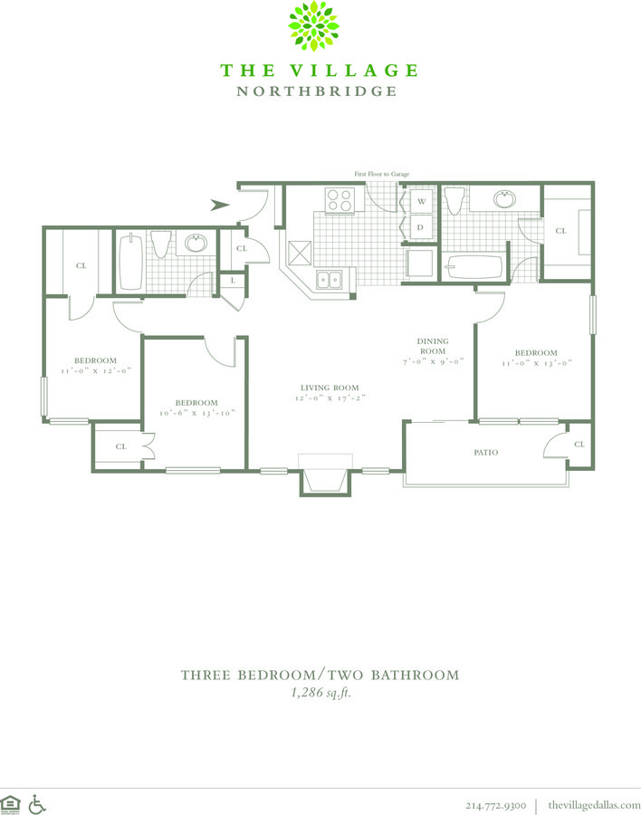 3 Bedrooms 2 Bathrooms Apartment for rent at The Village Northbridge in Dallas, TX