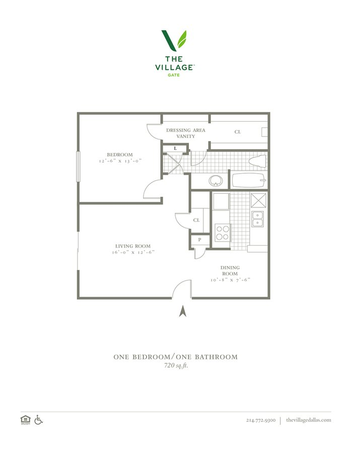 1 Bedroom 1 Bathroom Apartment for rent at The Village Gate in Dallas, TX