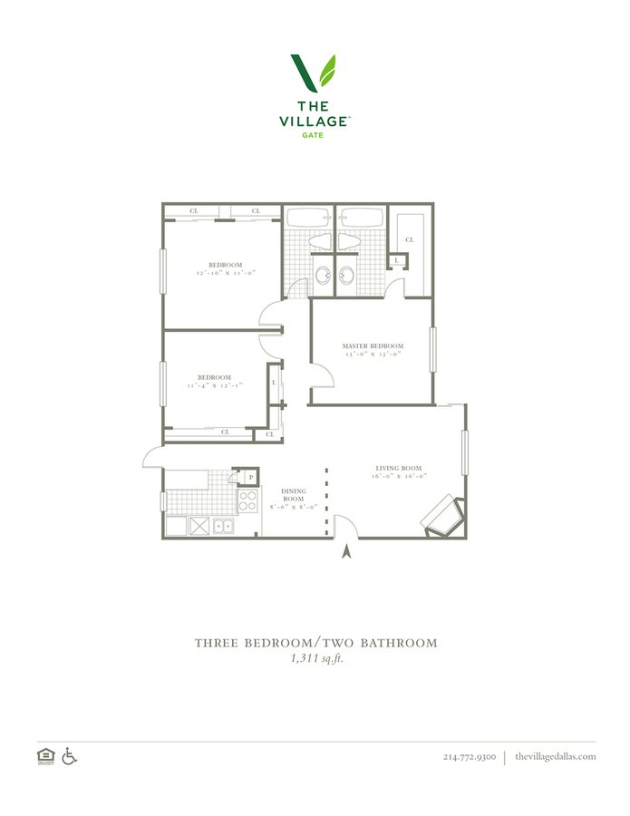 3 Bedrooms 2 Bathrooms Apartment for rent at The Village Gate in Dallas, TX
