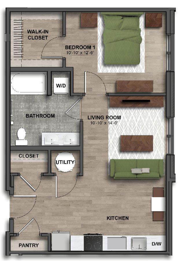 1 Bedroom 1 Bathroom Apartment for rent at One41 Wellington in Cincinnati, OH