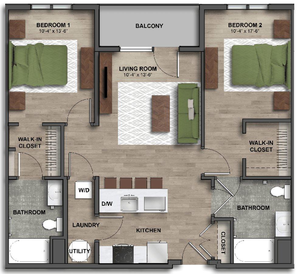 2 Bedrooms 2 Bathrooms Apartment for rent at One41 Wellington in Cincinnati, OH