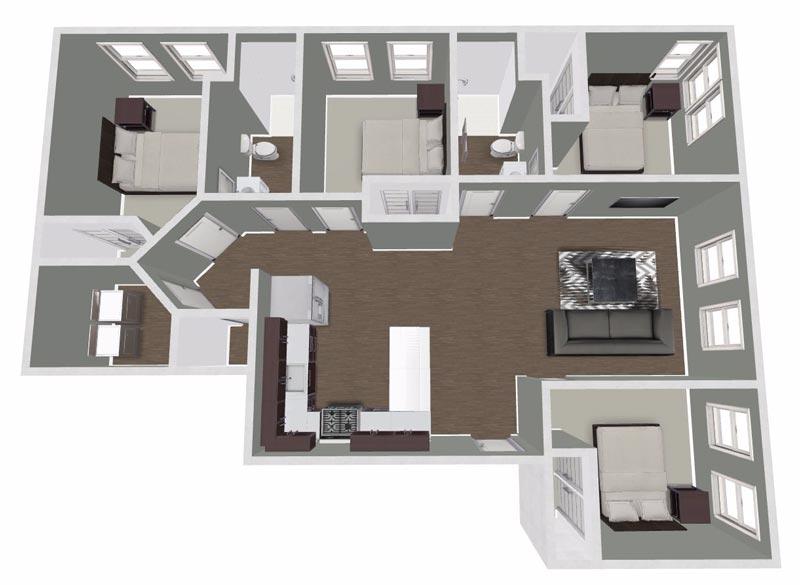 4 Bedrooms 2 Bathrooms Apartment for rent at Urban Flats South in Cedar Falls, IA