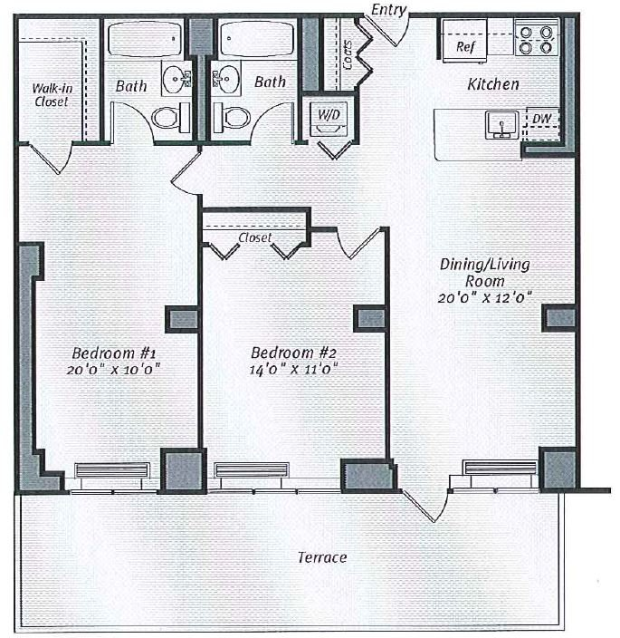 2 Bedrooms 1 Bathroom Apartment for rent at Avalon Bowery Place in New York, NY
