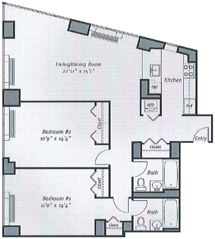 2 Bedrooms 2 Bathrooms Apartment for rent at Avalon Bowery Place in New York, NY