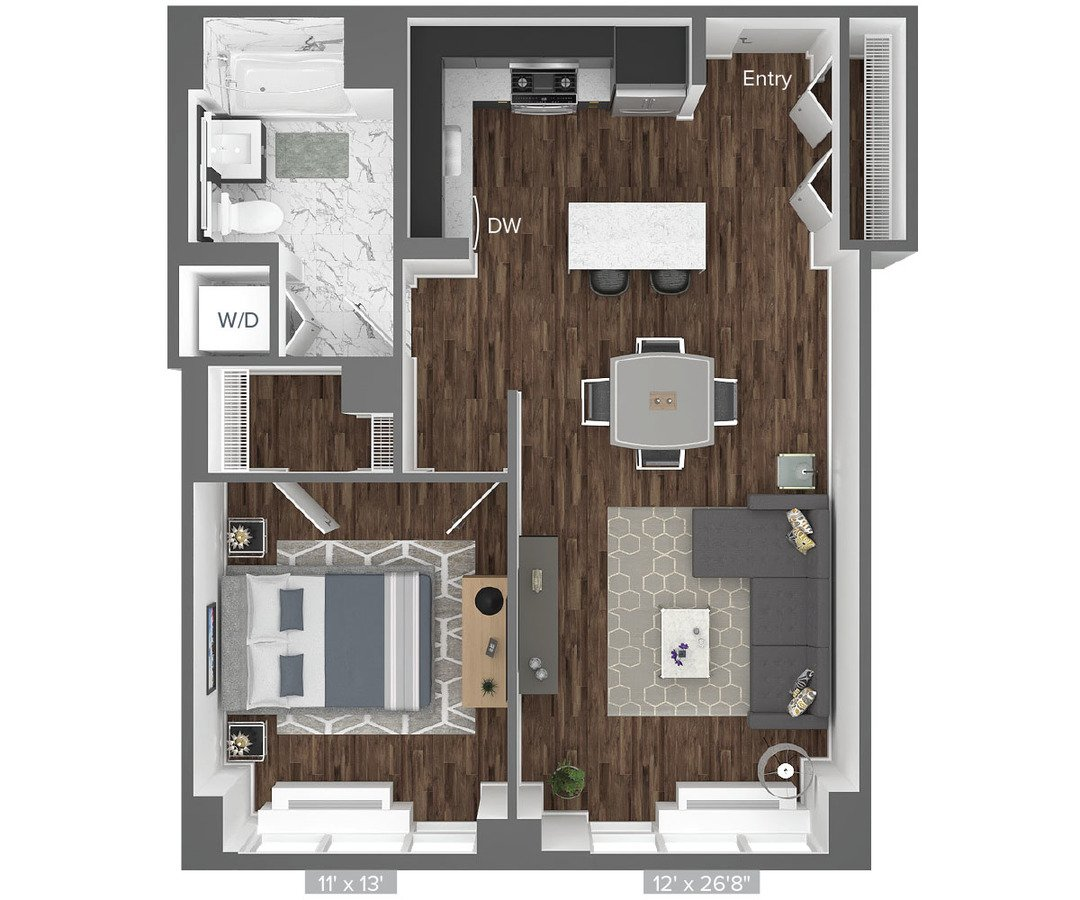 1 Bedroom 1 Bathroom Apartment for rent at Avalon Bowery Place in New York, NY