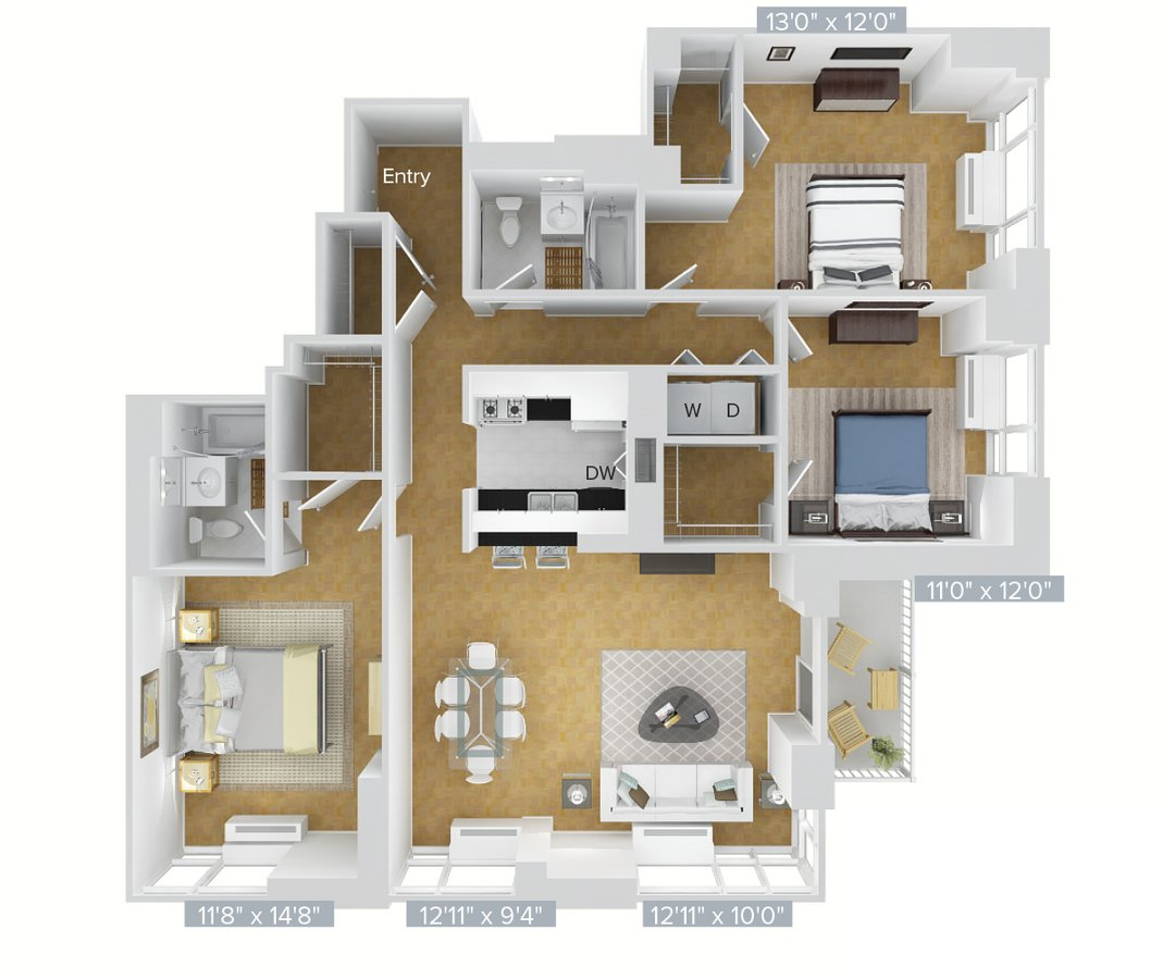 3 Bedrooms 2 Bathrooms Apartment for rent at Avalon Riverview in Long Island City, NY