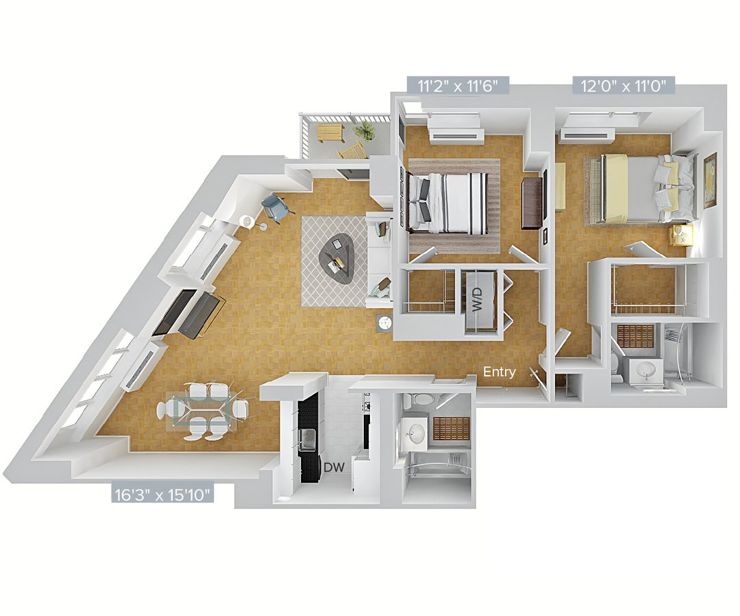 2 Bedrooms 2 Bathrooms Apartment for rent at Avalon Riverview in Long Island City, NY