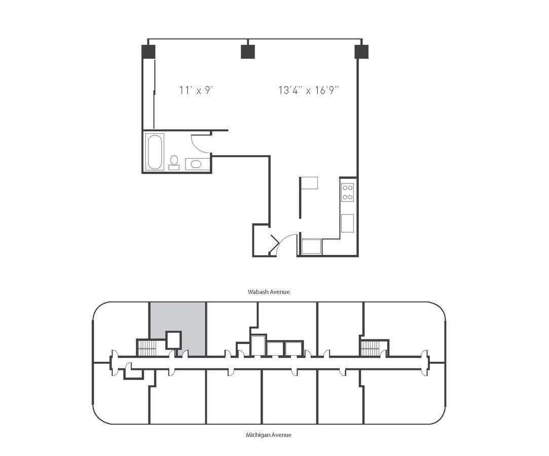 Studio 1 Bathroom Apartment for rent at Park Michigan - 1212 S Michigan Ave in Chicago, IL