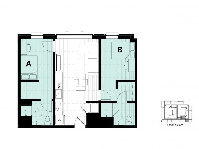 2 Bedrooms 2 Bathrooms Apartment for rent at Hub on Campus Gainesville 3rd Avenue in Gainesville, FL