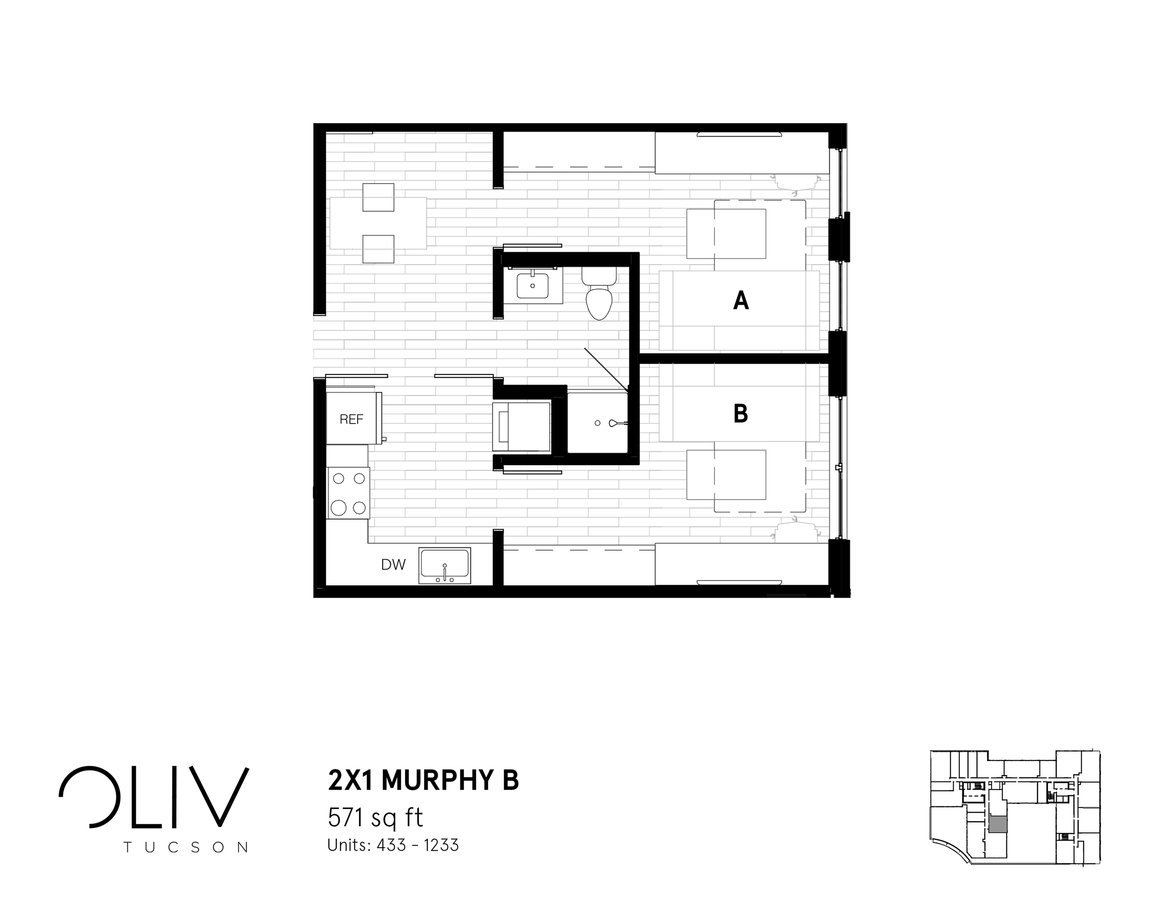 2 Bedrooms 1 Bathroom Apartment for rent at ōliv Tucson in Tucson, AZ