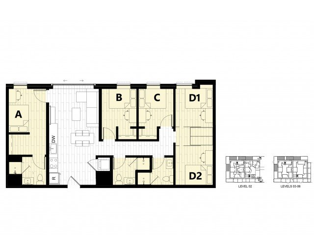4 Bedrooms 3 Bathrooms Apartment for rent at Hub on Campus Gainesville 3rd Avenue in Gainesville, FL