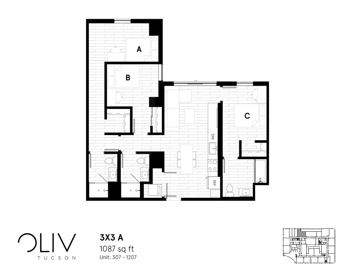 3 Bedrooms 3 Bathrooms Apartment for rent at ōliv Tucson in Tucson, AZ