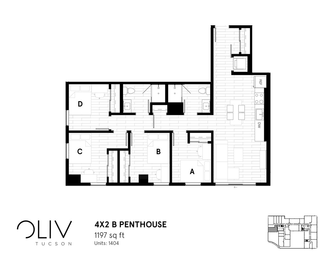 4 Bedrooms 2 Bathrooms Apartment for rent at ōliv Tucson in Tucson, AZ