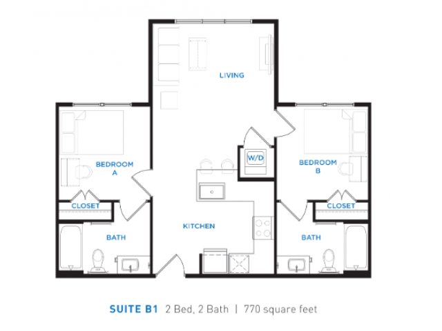 2 Bedrooms 2 Bathrooms Apartment for rent at Berkeley House in College Station, TX