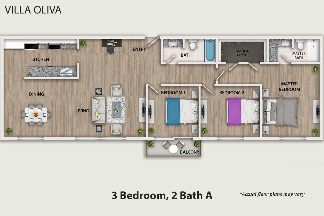 3 Bedrooms 2 Bathrooms Apartment for rent at Villa Oliva Apartments in Burbank, CA