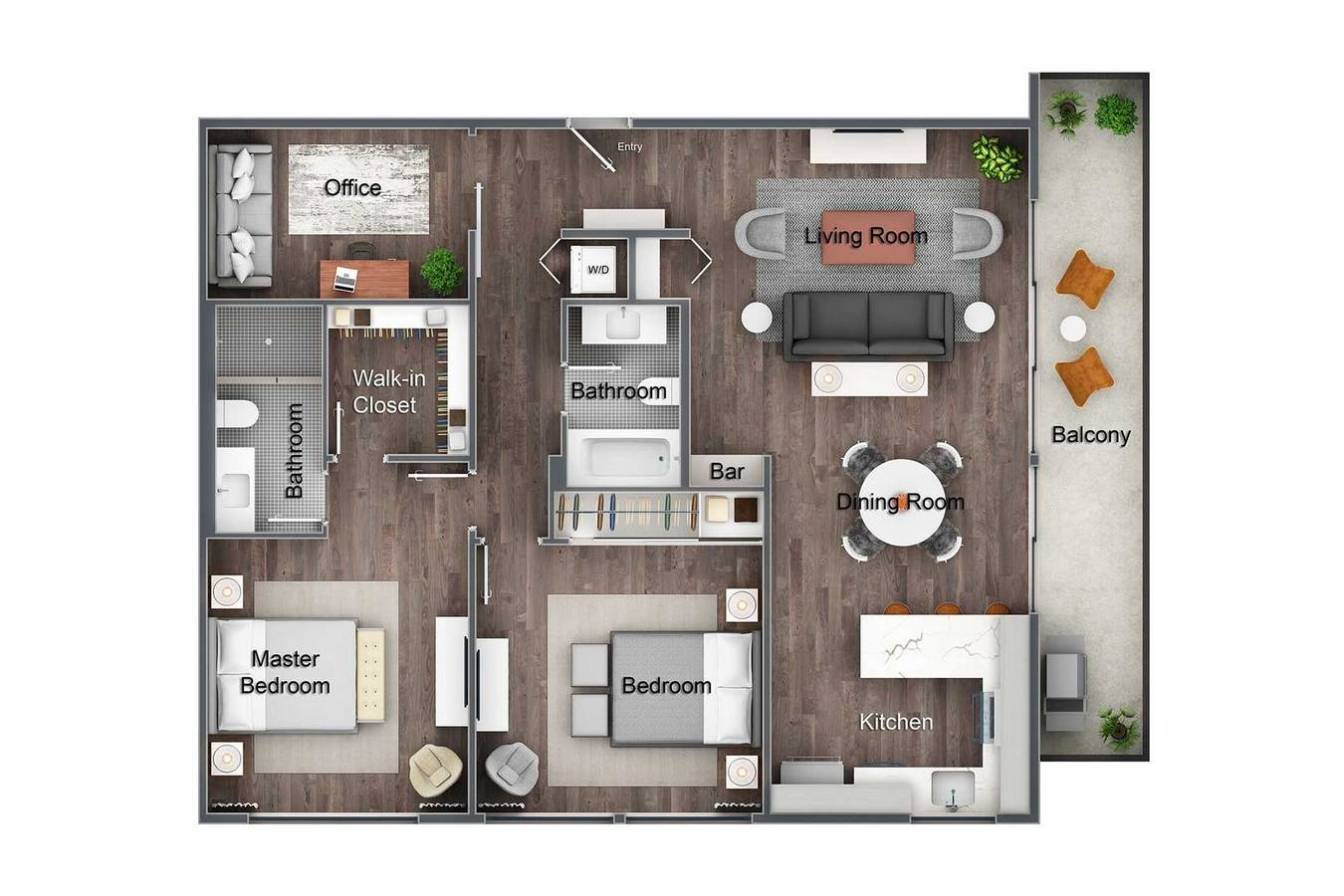 2 Bedrooms 2 Bathrooms Apartment for rent at Element WeHo in West Hollywood, CA