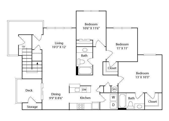 3 Bedrooms 2 Bathrooms Apartment for rent at The Enclave at Crossroads in Raleigh, NC
