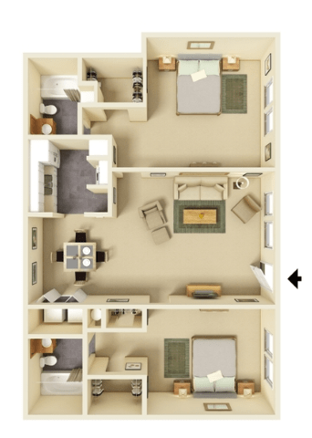 2 Bedrooms 2 Bathrooms Apartment for rent at Stone Lake in Indianapolis, IN