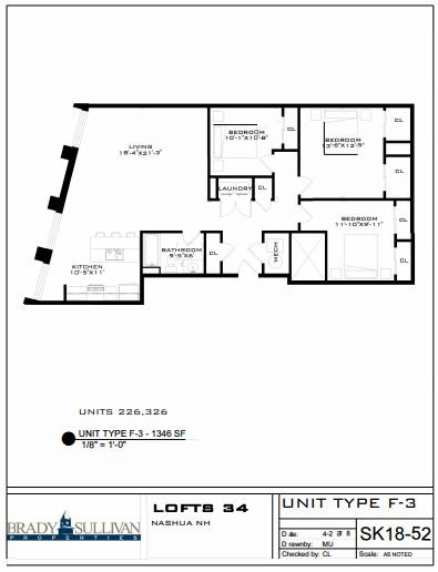 3 Bedrooms 1 Bathroom Apartment for rent at Lofts 34 in Nashua, NH
