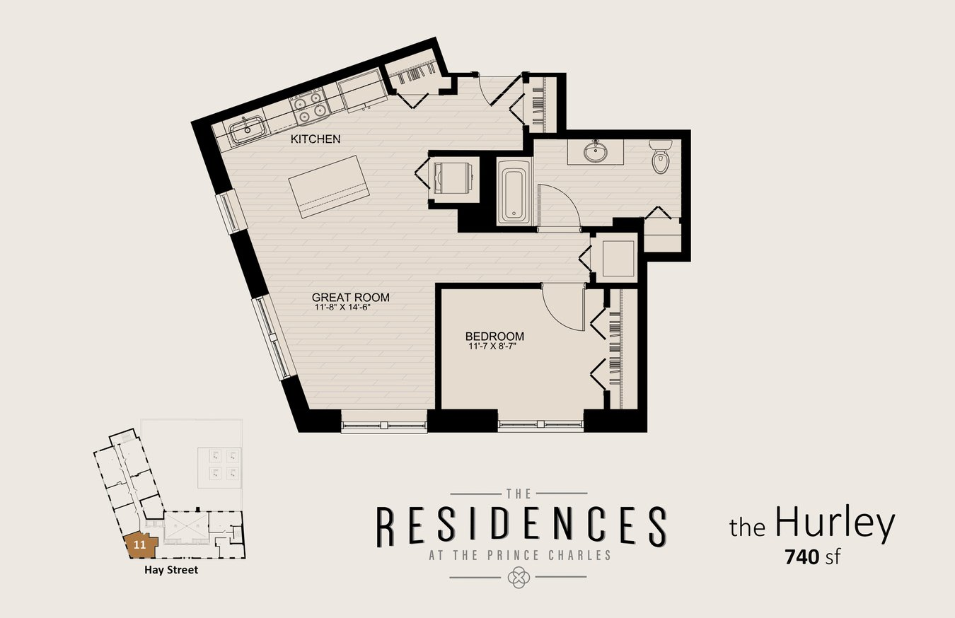 1 Bedroom 1 Bathroom Apartment for rent at The Residences at the Prince Charles in Fayetteville, NC