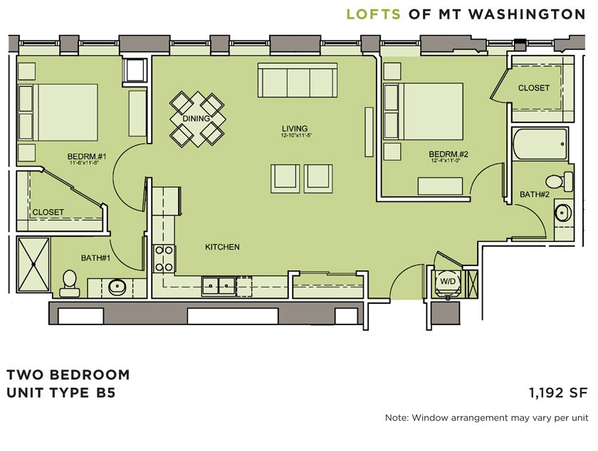 2 Bedrooms 2 Bathrooms Apartment for rent at Lofts Of Mt. Washington in Pittsburgh, PA