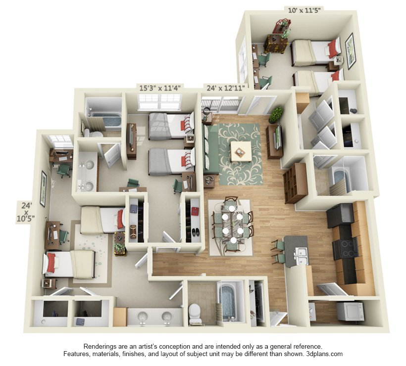 3 Bedrooms 3 Bathrooms Apartment for rent at The Quarters Sterling House in Austin, TX