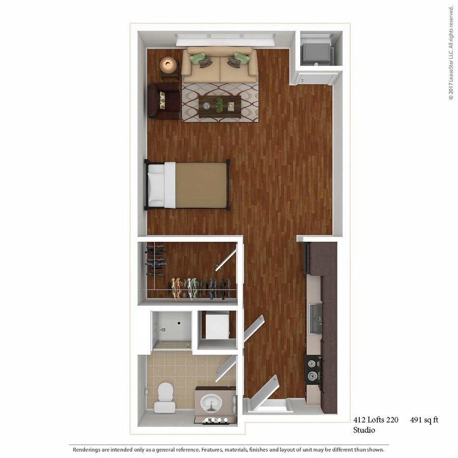 Studio 1 Bathroom Apartment for rent at 412 Lofts in Minneapolis, MN
