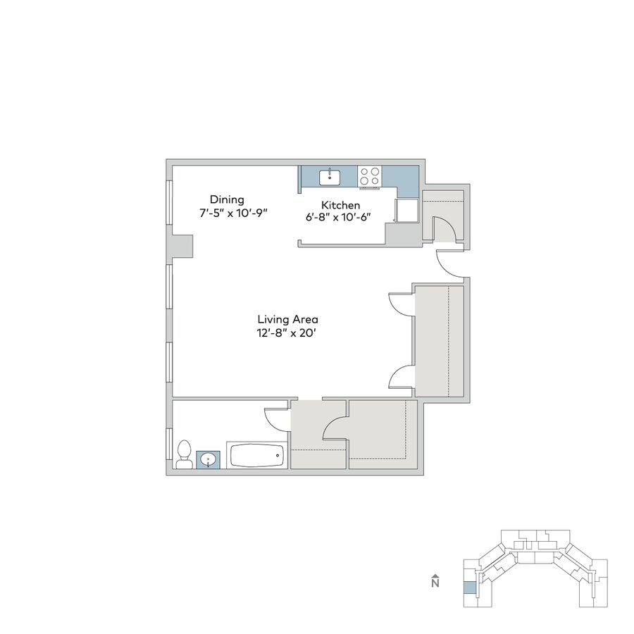 Studio 1 Bathroom Apartment for rent at Windermere House in Chicago, IL